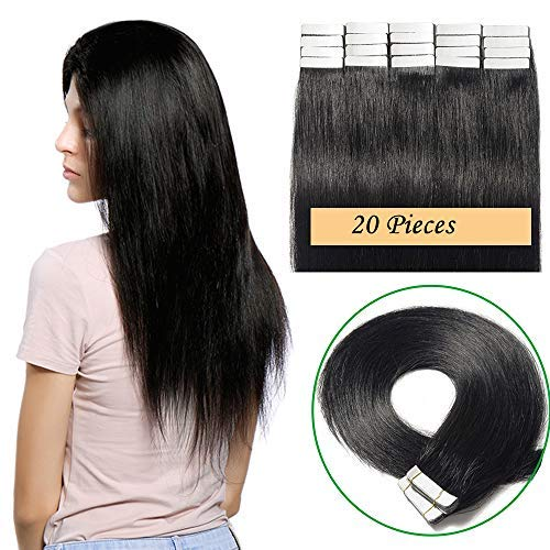 Extension capelli veri biadesivo neri 20 fasce tape extension adesive 40g 100% remy human hair lisci 35cm jet nero