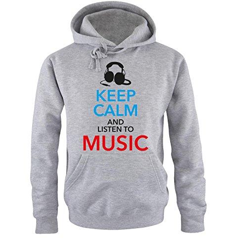 Comedy Shirts - KEEP CALM... MUSIC - Uomo Hoodie cappuccio sweater - taglia S-XXL different colors grigio / nero-blu-rosso