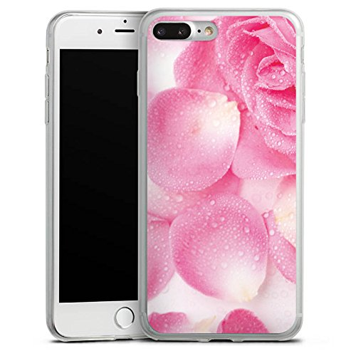 Apple iPhone 8 Slim Case Silikon Hülle Schutzhülle Rose Rosenblätter Pink Silikon Slim Case transparent