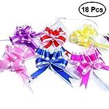 TOYMYTOY 18pcs noeud de mariage tirer arcs décoration florale pour cadeau emballage décoration de voiture de mariage (rose rouge rose rose bleu jaune)