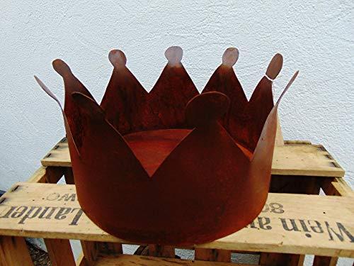 Edelrost Krone mit Boden XL, Durchmesser ca. 27 cm