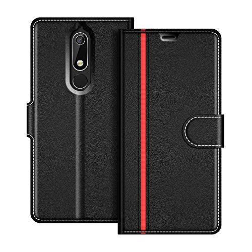 COODIO Nokia 5 2018 Hülle Leder, Nokia 5.1 Lederhülle Ledertasche Wallet Handyhülle Tasche Schutzhülle mit Magnetverschluss/Kartenfächer für Nokia 5.1 / Nokia 5 2018, Schwarz/Rot