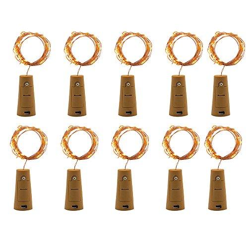Dicomi 10er 2m 20-LEDs Korklicht Kupferleuchten Dekorative Lampe Flexibel für Weinflaschen, Bar, Party, Weihnachten, Dekoration, Innen und Außenbereiche Gelb Micro Womens Hut