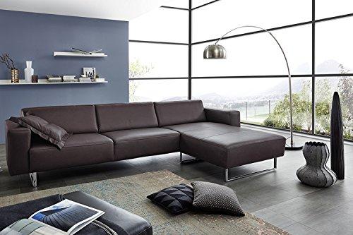 Leder Sofa Garnitur Florenz Wohnlandschaft made in Germany Polstergarnitur moebelhome (Braun)
