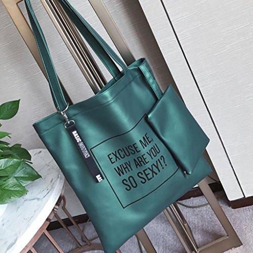 Longra Borsa della moneta del telefono del sacchetto del messaggero della borsa della borsa a tracolla della borsa del crossbody delle donne 2PC di modo Verde