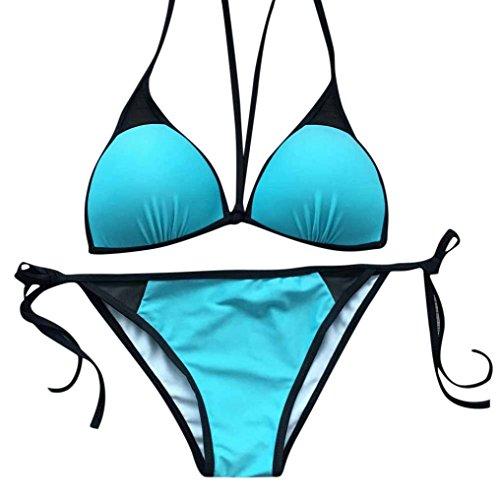 Bademode, DOLDOA Damen Badebekleidung Swimwear Badeanzüge Bikinis Sets Swimsuit Einfarbig Push-up (Blau Bikinis Sets, EU:42)