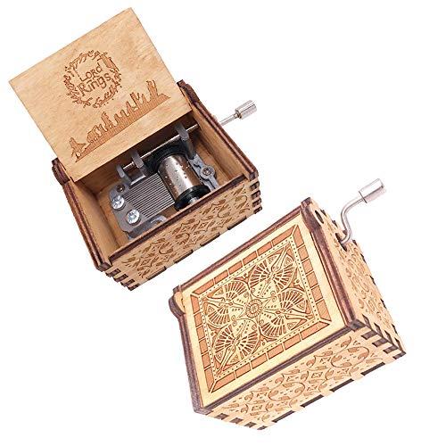 FnLy - Caja de música con 18 Notas grabadas en Madera, diseño de El Señor de los Anillos, Tallada a Mano, tamaño pequeño, Caja de Regalo