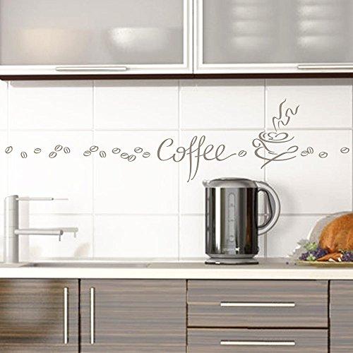 Grandora Wandtattoo Coffee Kaffee Tasse Kaffeebohnen I taupe Kreativset I Esszimmer Kaffeeecke Küche Aufkleber Wandaufkleber Wandsticker Sticker 1045W