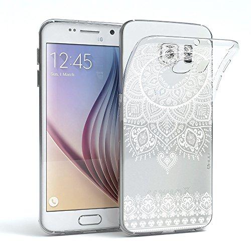 HULI Design Case Hülle für Samsung Galaxy S6 Smartphone im Orientalischen Muster weiß - Hülle aus TPU Silikon - Schutzhülle mit orientalischem Mandala Henna Ornament - Handyhülle mit Druck