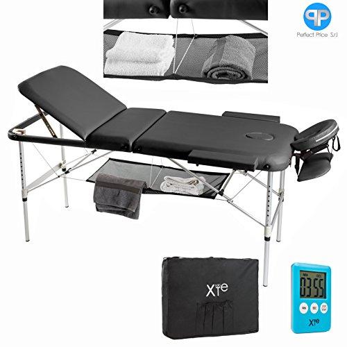 Lettino da massaggio 3 zone alluminio portatile reclinabile timer e porta asciugamano omaggio (nero)