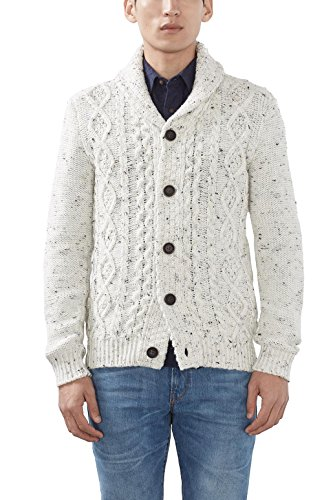 ESPRIT Herren Strickjacke 106EE2I035-Cardigan, Weiß (Off White 110), Large