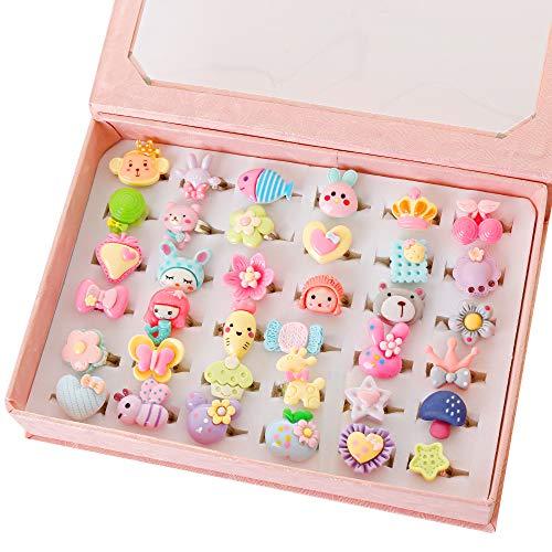 Kinder Ringe in Box, einstellbar, Meerjungfrau-Ring, niedlichen Bär Ring, Schmetterling Blume Herz Lollipop Ringe für kleine Mädchen, 2018 Fashion Sets (pink) (Mädchen Kleine Schmuck-box)