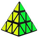 GENORTH Cubo MágicoTriángulo Pirámide Pyraminx Velocidad Puzzle Twist Juguete juego educación para los niños (Triángulo,Negro)