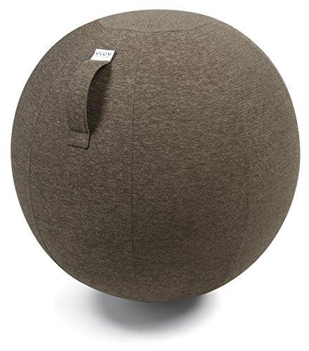 VLUV STOV Stoff-Sitzball SBV-002.75CGR, ergonomisches Sitzmöbel für Büro und Zuhause, Farbe: Greige (Grau-Braun), Ø 70cm - 75cm, Hochwertiger Möbelbezugsstoff, Robust und formstabil, mit Tragegriff