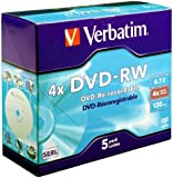Verbatim 43285 DVD-RW 4.7GB 4x 5 pack, Individually cased