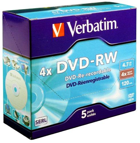 Verbatim DVD-RW 4x Speed 5er Pack Jewel Case DVD-Rohlinge Re-recordable