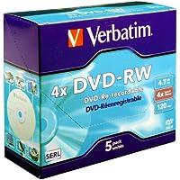 Verbatim 416965 - Pack de 5 DVD-RW vírgenes de 4.7 GB