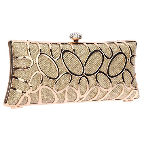Bonjanvye Hand Baguette Party Clutch Bag for Ladies Evening Party Silver Gold