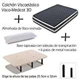 Base Tapizada más Colchón Viscoelástico VISCO MEDICOT 3D y Almohada Fibra Resinada (90x190 cms - Metal 32 cms)