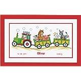Vervaco - Juego de punto de cruz (36 x 19 cm, incluye tela aida blanca de 14 agujeros / cm e hilos de algodón), diseño de tractor con animales y registro de nacimiento