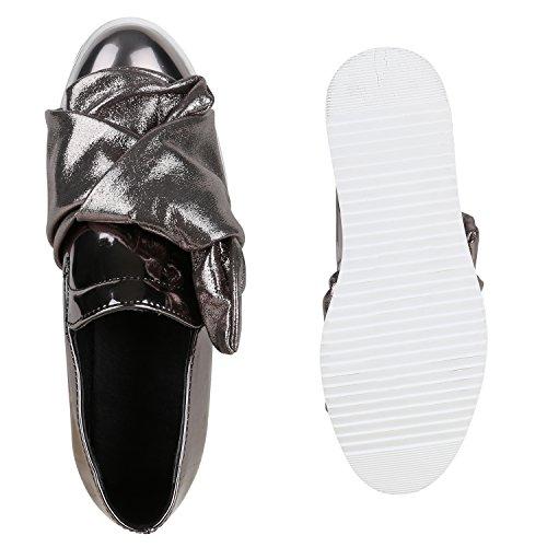 Funky Damen Slipper Lack Schuhe Profilsohle Plateau Loafers Lack Grau Schleife Lack