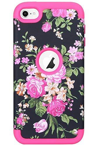 Apple Itouch Design Snap (XRPow iPod 6Shock Schutzhülle, iTouch 5Fall, Blumen Series 3Schichten Hybrid Duty High Impact Armor Hybrid Dämpfung Anti-Rutsch Hard Case mit Soft Shell für iPod Touch 5, 6. Generation, Hot Pink)