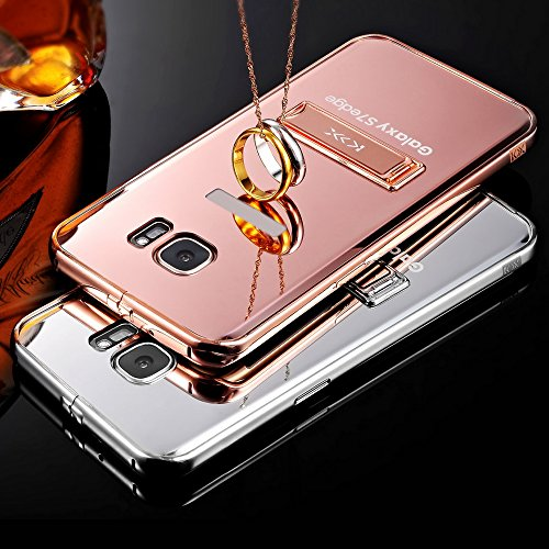 Skitic Peau Miroir Coque pour iPhone 6 / 6S 4.7 inch, Luxe Stainless Steel Metall Frame Bumper Ultra Thin Acrylic Mirror Reflective Effect Dur PC Phone Case Cover Shell Hull Protection Protecteurs Ret Or Rose
