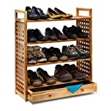 Relaxdays Étagère à chaussures Armoire range-souliers Rangement couloir Entrée 4 niveaux Bois de noyer HlP 81 x 70 x 27 cm avec poignées de transport, nature
