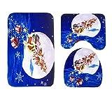 Epinki Flanell 3 Pcs Toilettenmatte & Teppich Santa Claus Hirsch Muster Teppiche Set für Küche Toilette Blau 75x45CM