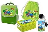 Mein Zwergenland Set 5 Kindergartenrucksack mit Brotdose, Turnbeutel aus Baumwolle und Trinkflasche Happy Knirps Next mit Name Traktor, 4-teilig, Grün