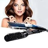 Plancha de pelo, Alisador de pelo, Likii, Cepillo vapor alisador, Peine con pantalla LCD, Alisador de pelo profesional, guantes de regalo. Negro