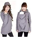 Baby Carrier Hoodies Mäntel, 2 In 1 Frauen Mutterschaft Sweat-Shirts Fleece Känguru-Tasche Mantel Jacke Für Schwangere Tragen Halter Pullover Polar Fleece Pullover,Gray,S
