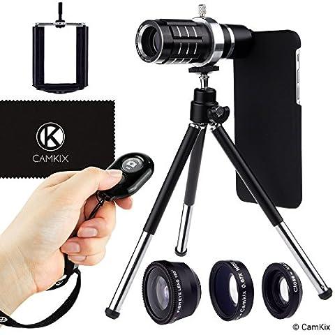 Kameraobjektiv-Set und Blende Fernbedienung für Apple iPhone 6/6s + 6 Plus/6s Plus - Inklusive: Bluetooth Kamera-Fernbedienung, 12x Teleobjektiv, Fischaugenobjektiv, Makroobjektiv, Weitwinkelobjektiv, Dreibeinstativ, Handy-Halterung, Haltering, Stabiler Box (2x), Tasche und