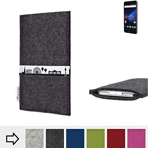 flat.design für Phicomm Passion 4 Schutztasche Handy Hülle Skyline mit Webband Wien - Maßanfertigung der Schutzhülle Handy Tasche aus 100% Wollfilz (anthrazit) für Phicomm Passion 4