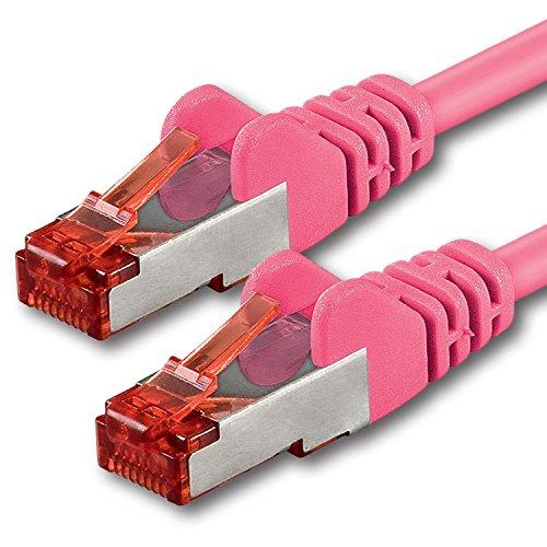 1aTTack.de - 1m - magenta - 1 Stück - Cat6 Cat.6 Netzwerkkabel Patchkabel Ethernetkabel Set Sftp 1000 Mbit/s kompatibel mit cat.5 cat.5e cat.6a cat.7 Handheld 7 Tv