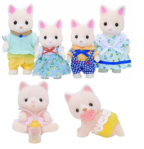 sylvanian-families-family-set-bundle-of-silk-cat-family-with-silk-cat-twins