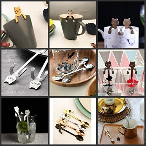 Ayomi 4Edelstahl Katze Kätzchen Design Edelstahl Kaffee/Dessert/Drink/mischen/Milchshake Löffel Geschirr Besteck Gadgets Scoop Schöpfkelle Löffel - 4