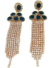 3f7fb5565 Jevascot Gold Plated American Diamond Long Chain Earrings For Women & GIRLS