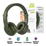 Kabellose Bluetooth Kopfhörer für Kinder - BuddyPhones Play | Verstellbare Lautstärkebegrenzung zu 75, 85, 94 dB | Faltbar mit 14h Batterielaufzeit | Optionales Kabel zum Mithören | Grün