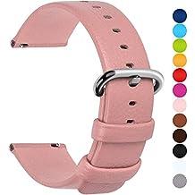 12 Colores para Correa de Reloj,Fullmosa®Uli Piel Correa Huawei Samsung Correa/Banda/Band/Pulsera/Strap de Recambio/Reemplazo 18mm 20mm 22mm 24mm,Rosa 18mm