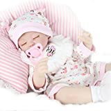 Enshey Lebensechte Babypuppen Reborn Enge Augen Schlafen Wiedergeborene Geschenk Handgefertigte Baby Puppen + Kleidung in rosa Gemacht von Silikon Vinyl Wie Echte Niedlich Babys 43cm/17inch