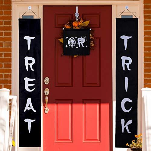 Jetec 3 Set Trick or Treat Halloween Banner Girlande Home Türschild mit 4 Saugnäpfen Wandhaken Aufhänger für Zuhause Büro Outdoor Halloween Dekoration