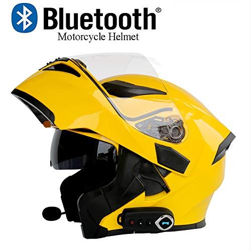 XYL Caschi Moto modulari Bluetooth Doppio Specchio antiappannamento Certificazione DOT caschi da Montagna Flip-up Bluetooth + FM Doppio Altoparlante Incorporato Casco per Microfono,Yellow,M
