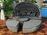 Polyrattan Sonneninsel Rattan Lounge Liege Insel Sonnenliege Gartenliege (180cm, Grau)