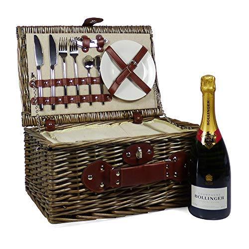 75cl Bollinger Champagner mit einem 2 Personen Cream Chiller Weiden Picknickkorb - Geschenkideen für Geburtstag, Jubiläum, Business, Corporate, Hochzeit, Glückwünsche und Danke