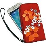 vyvy mobile® Neopren Zipper Tasche Handytasche FLOWER 2 ROT mit Blumenmuster für Samsung Galaxy S3 Mini und Apple iPhone 5 5S und SE