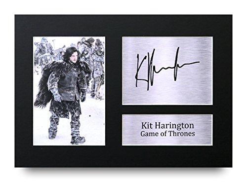 HWC Trading Kit Harington Geschenke A4 Gedrucktes Autogramm Game Thrones Jon Snow Druck-Foto-Bilderanzeige