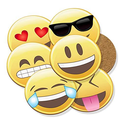 Gift Base Emoji Posavasos Felpudo Corcho Redondo Set