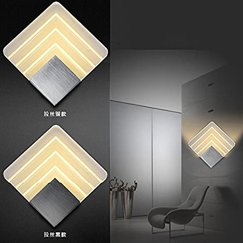 XHY Luz LED de aluminio Alexis Cuadrado ,5,20*20cm/ Negro pulido/Optical /4200KHigh calidad decoración de Navidad Regalo
