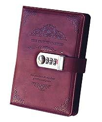 Ai-life Retro Vintage PU Leder Zahlenschloss Tagebuch Schreiben Notebook Planer Organizer, Passwort Tagebuch Notizblock, Secret Tagebuch Notizbuch mit Kombinationsschloss Stift halter(200x130mm)